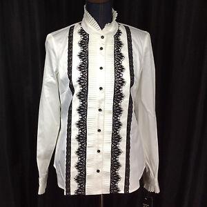 Etcetera-Victorian-White-Stretch-Cotton-Sateen-Shirt-Sz-6-Button-Black-Lace-NWT