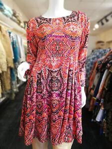 Womens-Ladies-Boho-Long-Sleeve-Dress-Mini-Swing-Skater-Party-Top-Plus-Size-8-26