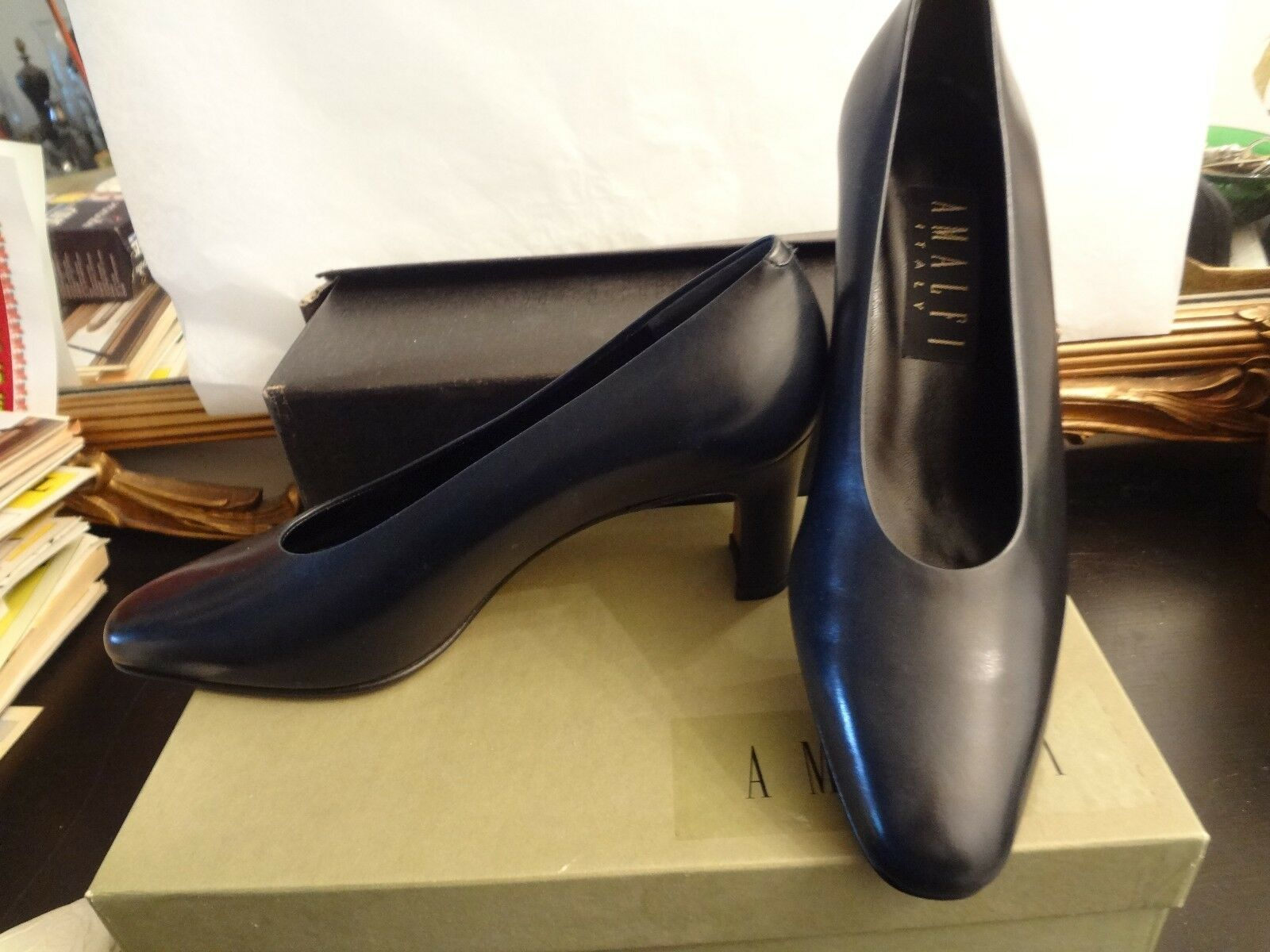 AMALFI SOFT BLACK LEATHER PUMPS NIB SIZE 8 SELLS IN STORES FOR OVER  200