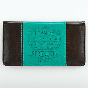 CHECKBOOK-COVER-I-Can-Do-Everything-Through-Him-Turquoise-and-Dark-Brown-Cover