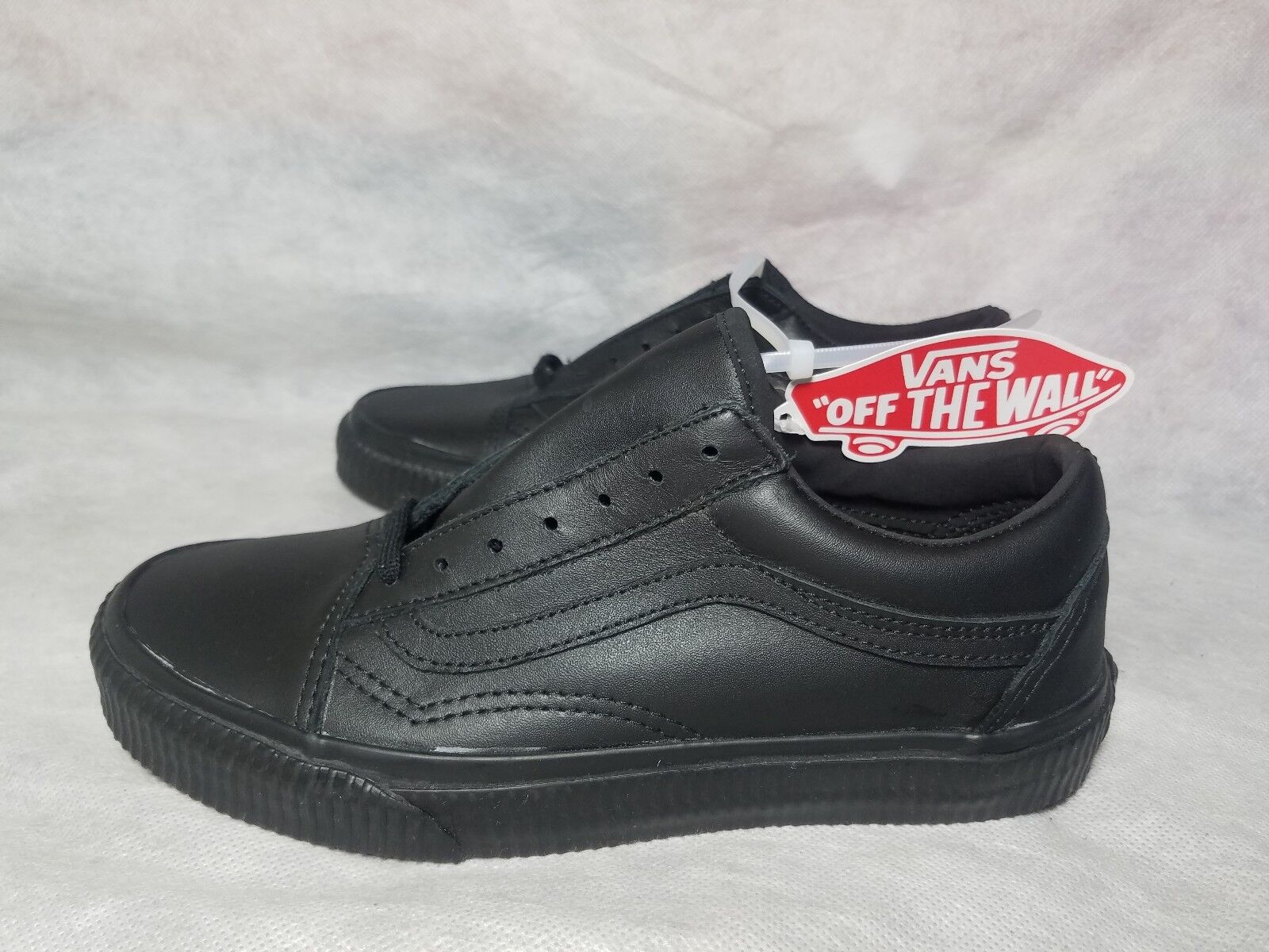 New Vans Old Skool Leather Embossed Shoe Sidewall Black Vault Skate Shoe Embossed Women Size 6 41e31b