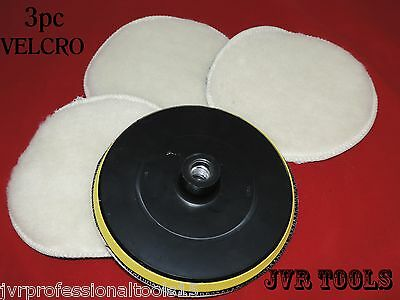 "7"" Polisher Buffer Soft Wool & Velcro Pad Bonnets w/ Wheel Polishing Buffing NEW"