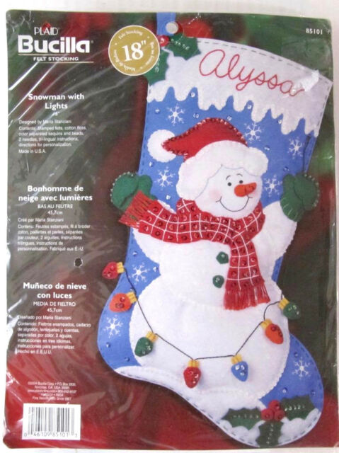 Christmas Stocking Snowman Kit Felt 18 in Sew and Personalize w/Name