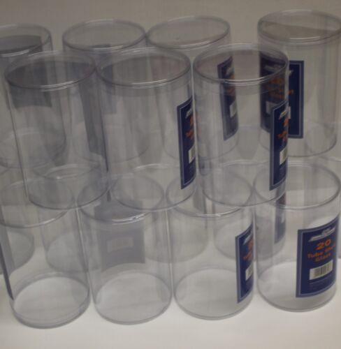 20 x utilisé en plastique tubes EX DISPLAY conteneurs 150 mm x 100 mm tube de conteneurs