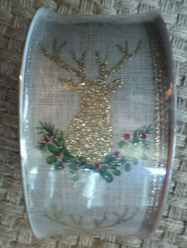 """RIBBON deer stag mountain lodge wire edge Linen Burlap Look Country  2.5/"""" 5 Yds"""