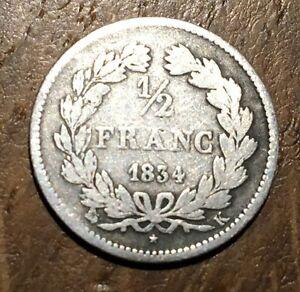 PIECE-1-2-FRANC-LOUIS-PHILIPPE-1834-K-69082-EXEMPLAIRES-SEULEMENT-56-ARGENT