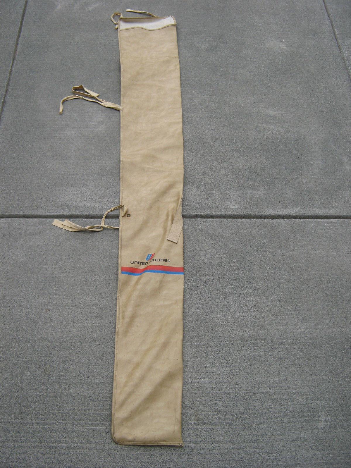 Hyper Rare    United Airlines Vintage Tan Carry On Snow Ski 7ft. Bag Tulip Logo