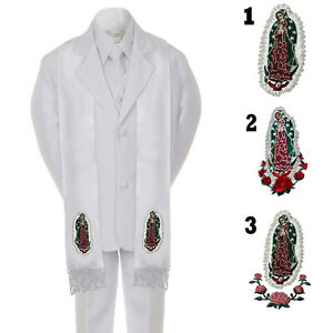 Baby Toddler Boy Graduation Christening Baptism White SUIT TUXEDO & Stole Sm-20