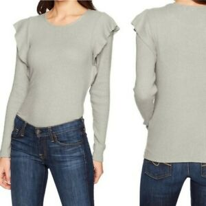 Lucky Brand Grey Ribbed Ruffle Shoulder Knit Top Blouse Shirt Size Small