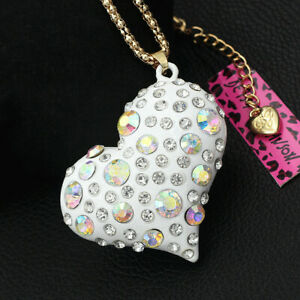 Betsey-Johnson-AB-Crystal-Enamel-Love-Heart-Pendant-Sweater-Chain-Necklace-Gift