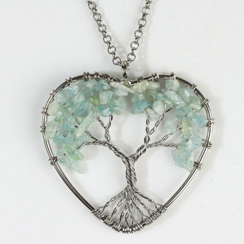 Amethyst Turquoise Chakra Gemstone Tree of Life Heart Silver Pendant Necklace