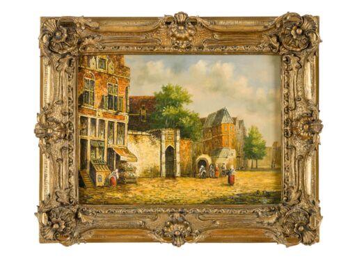 Original Ölgemälde Prunkrahmen Stadt Altstadt Gemälde Bild Antik-Stil 55x45cm