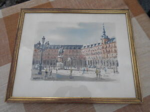 "Aquarelle ""place Mayor, Madrid Espagne"" Par ""c. Sanchez"" (1965) Zv2idtua-10133244-124761511"
