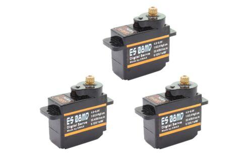 3x Emax ES08MD Digital Metall Micro RC Servo 12g 0,10s 2,0kg