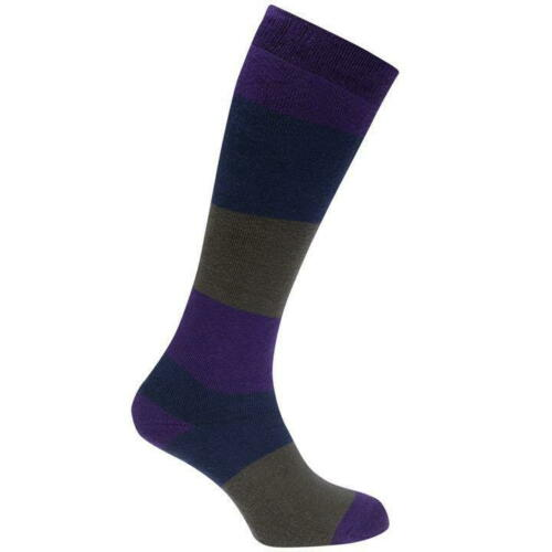LADIES QUALITY THERMAL PURPLE TERRY COTTON WELLY SKI BOOT SOCKS KNEE HIGH