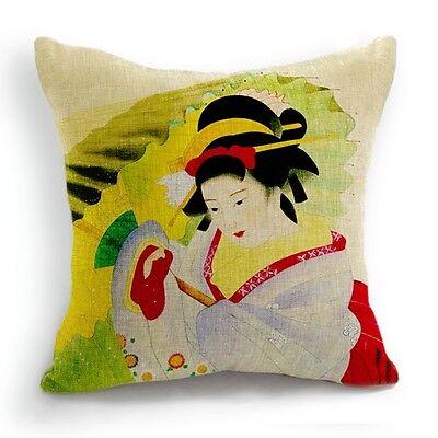Retro Style Japanese Woman Umbrella Kimono Pillow Case Cushion Cover 18''