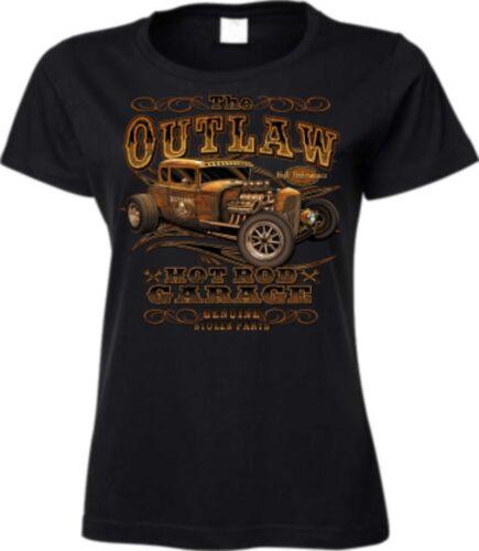 T Shirt in schwarz mit einem Hot Rod-/&`50 Stylemotiv Modell The Outlaw