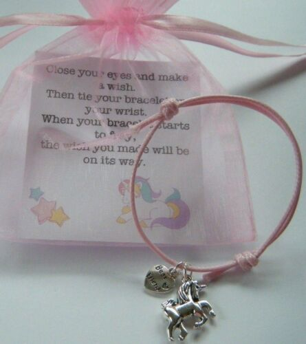 UNICORN BEST FRIEND WISH BRACELET /& CARD BIRTHDAY PARTY GIFT BAG FILLERS in bag