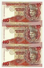 "MALAYSIA  RM10 x 3pcs r/n JAFFAR HUSSEIN TDLR TX_6559791~793 ""Gem UNC"""