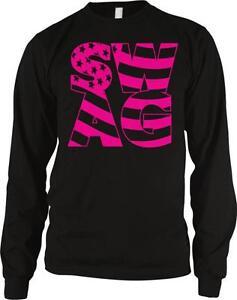 cdc12537 Swag Pink Flag Stars Stripes Patriotic Hype Hip Hop Long Sleeve ...