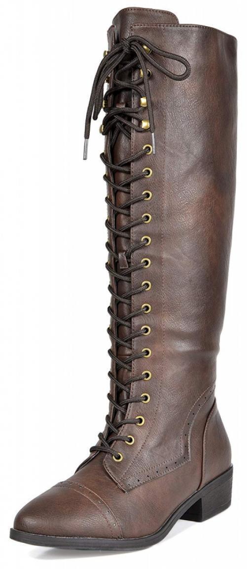 DREAM PAIRS Women's Vine Brown Faux Fur Knee High Riding Combat Boots Size...
