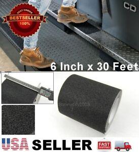 "6"" x 30' Black Anti Skid Non-Slip Black Mineral Abrasive Safety Step Tape ""USA"""