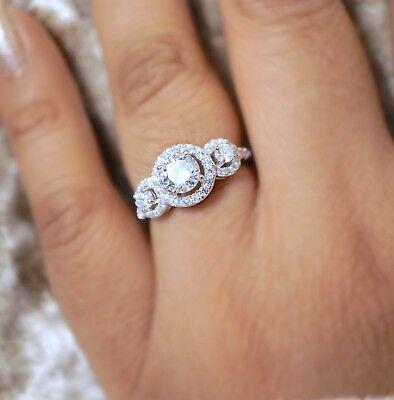 GüNstiger Verkauf New Boxed 925 Sterling Silver Cluster Engagement Wedding Ring