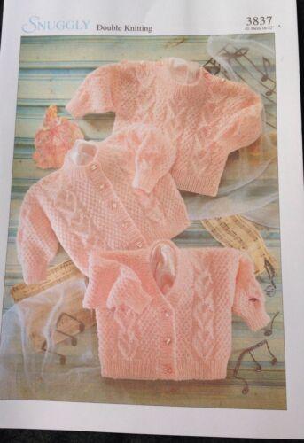 "DK Baby Babies Knitting Pattern 3837 Cardigan Or Jumper Size 16//22/"""