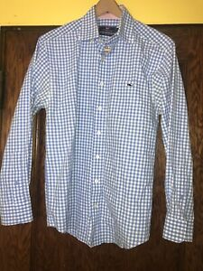 Men-s-Vineyard-Vines-Blue-checked-Classic-Fit-Tucker-Shirt-Small-MINT-C57