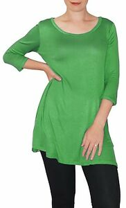 Details about New 3/4 Sleeve Kelly Green Stretch Tunic Top Shirt Blouse  Dress S M L Plus Size