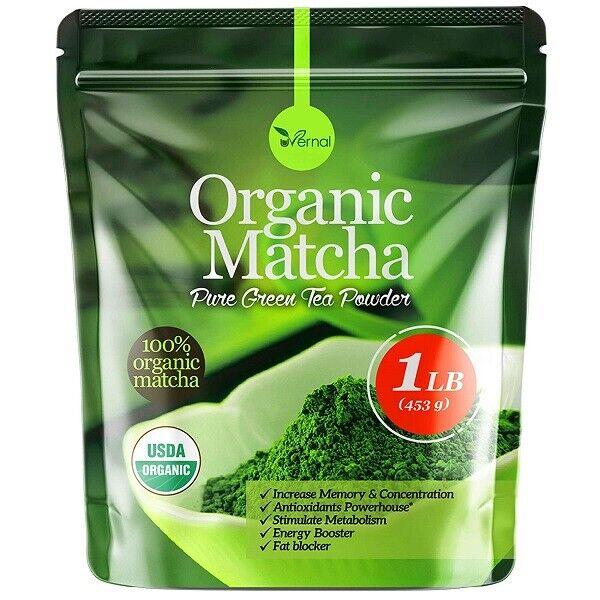 Organic Matcha Green Tea Powder Unsweetened 100% Natural  1LB