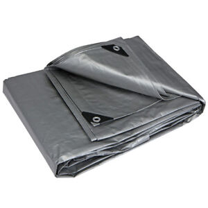 Silver-Heavy-Duty-Tarp-10-Mil-Tarpaulin-Canopy-Tent-Boat-RV-or-Pool-Cover