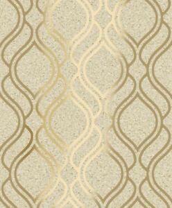Details About Cork Trellis Wallpaper Geometric Natural Metallic Gold Textured Feature Holden