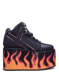 YRU Qozmo Flame Punk Emo Goth Rockabilly Fire Adult Womens Platform ... 7f8288825e