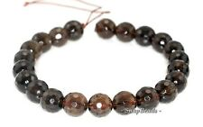 14MM  SMOKY QUARTZ GEMSTONE GRADE B FACETED ROUND LOOSE BEADS 7/""