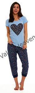 Ladies-Summer-Pyjamas-Jersey-Cotton-Elastane-T-Shirt-Tie-Waist-Cuffed-Ankle-Soft