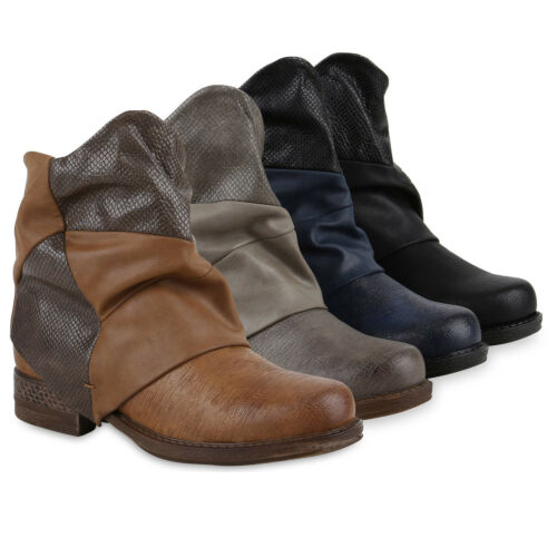 Damen Biker Boots Stiefeletten Prints Profil Sohle Block Absatz 811662 Schuhe