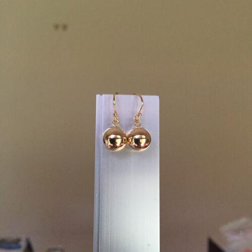 14KGF 8mm Gold Ball Drop Earrings