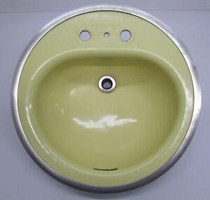Vtg 1960s American Radiator Standard Sanitary Yellow Bathroom Sink Cast Iron Ebay