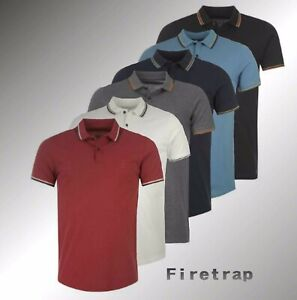 Para-hombre-marca-Firetrap-Elegante-Manga-Corta-Slim-Fit-Polo-camisa-tamano-Lazer-S-4XL
