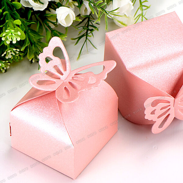 Butterfly Pattern Wedding Favour Boxes Candy Gift Boxes 50pcs Pink