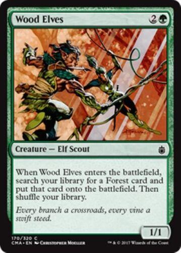 WOOD ELVES Commander Anthology MTG Green Creature — Elf Scout Com