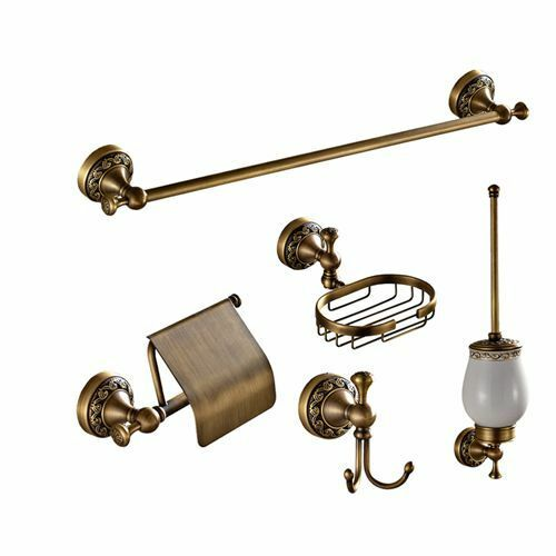 Bathroom Antique Brass Bath Hardware Accessories Set Robe Hook Bathroom Set