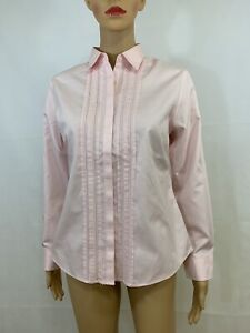 Ll-Bean-Women-039-s-Pink-Long-Sleeve-Wrinkle-Free-Button-Front-Shirt-Size-XS