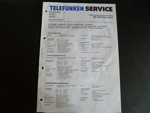 Original Service Manual Telefunken RC 720T RC 1720T | eBay