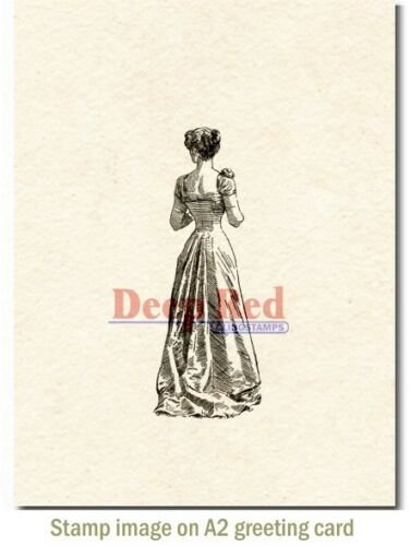 Deep Red Stamps Victorian Evening Dress Rubber Cling Stamp