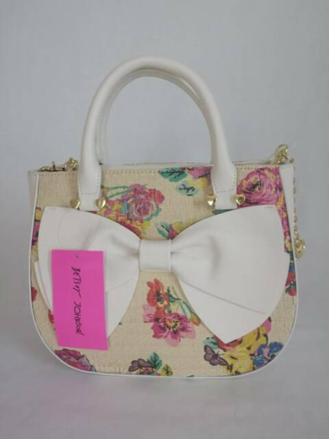 Betsey Johnson HALF MOON MEDIUM SATCHEL BM19340 Woven FLORAL, WHITE BOW and trim