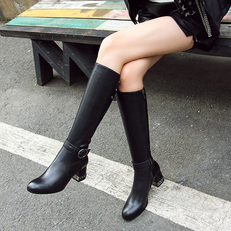 Ladies Leather Buckle Strap Block Zipper Chunky Heels Riding Knee High Boots Hot