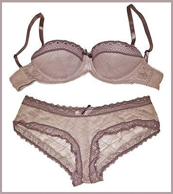 LAVENDER LACE BALCONETTE PUSH UP BRA PANTIES SET 10A 10C 12A 12C 14B 16C
