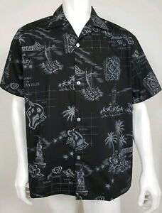 VTG-Howie-Mens-Shirt-Size-Large-Short-Sleeve-Button-Front-Hawaiian-Islands-Black